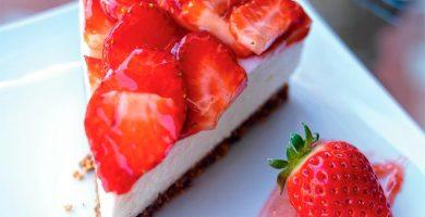tarta de queso fresas