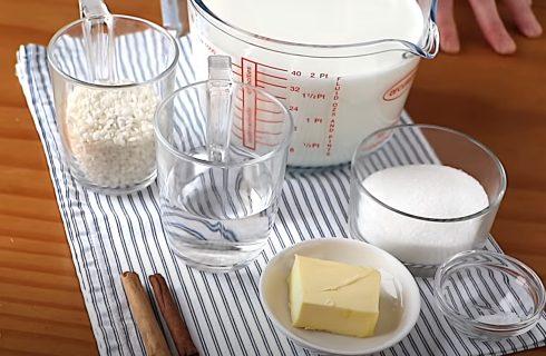 Ingredientes para el arroz con leche