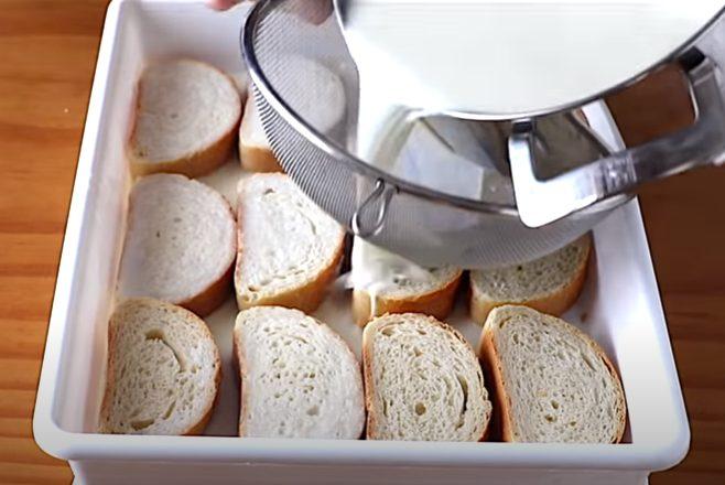 Pan mojado con leche